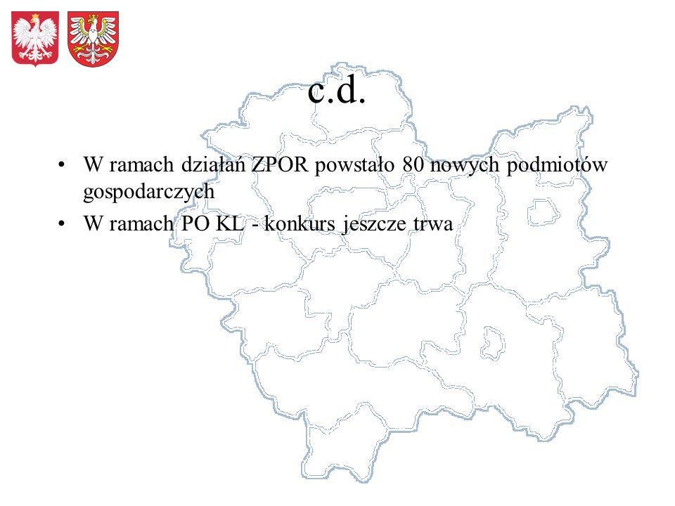 c.d. W ramach działań ZPOR powstało 80 nowych podmiotów gospodarczych