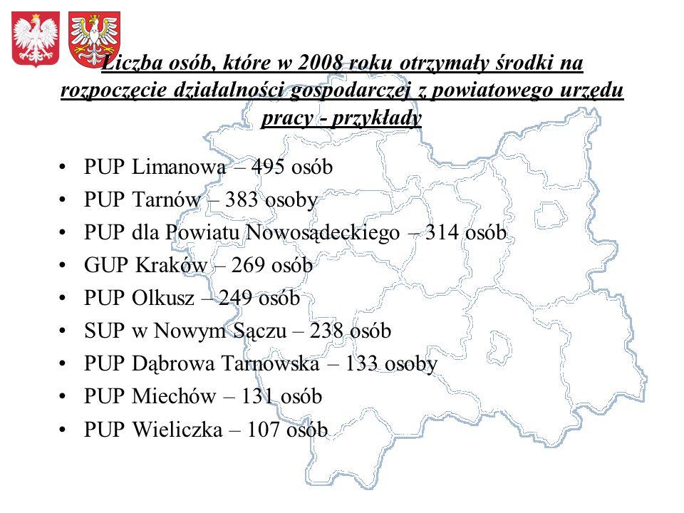 Liczba osób, które w 2008 roku otrzymały środki na rozpoczęcie działalności gospodarczej z powiatowego urzędu pracy - przykłady