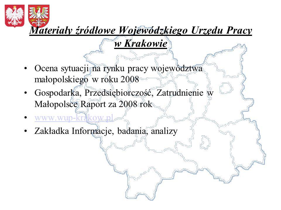 Materiały źródłowe Wojewódzkiego Urzędu Pracy w Krakowie