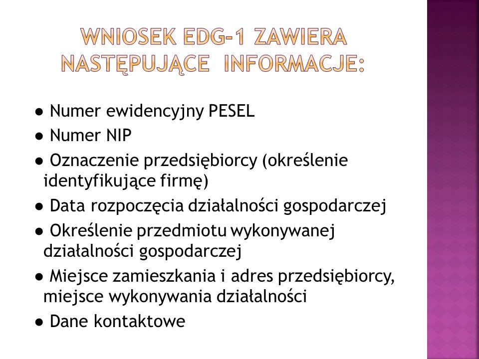 Wniosek edg-1 zawiera następujące informacje: