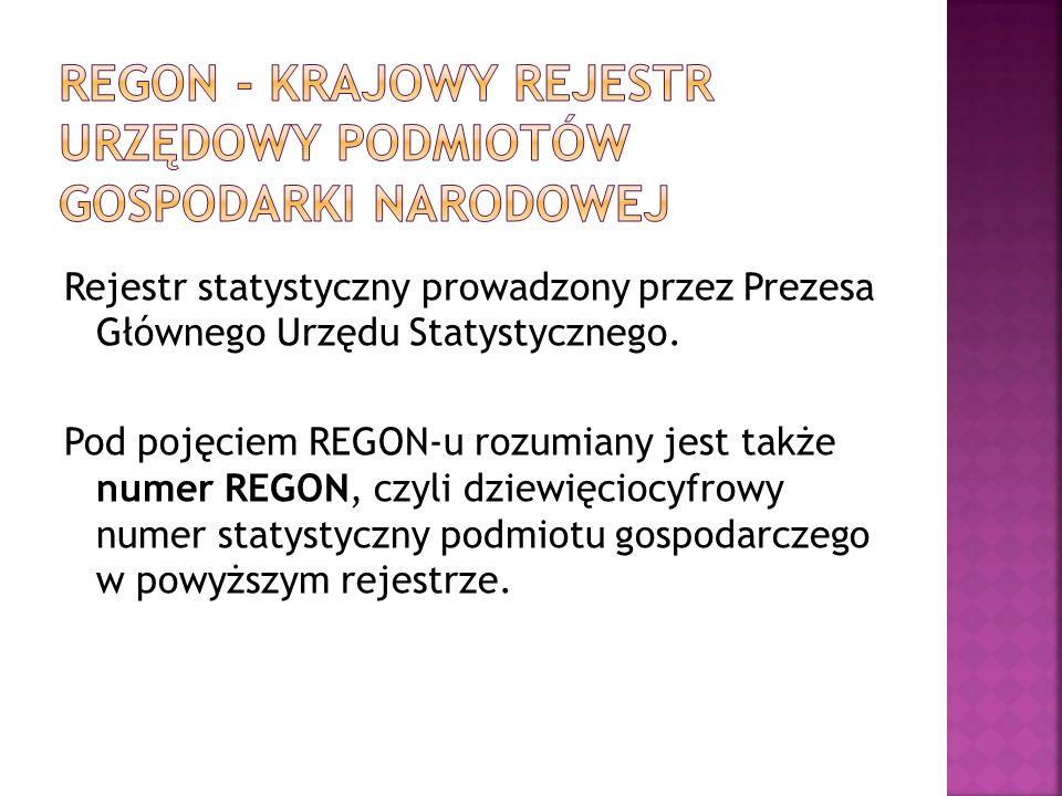 Regon - Krajowy rejestr urzędowy podmiotów gospodarki narodowej