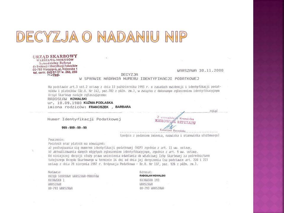 decyzja o nadaniu NIP