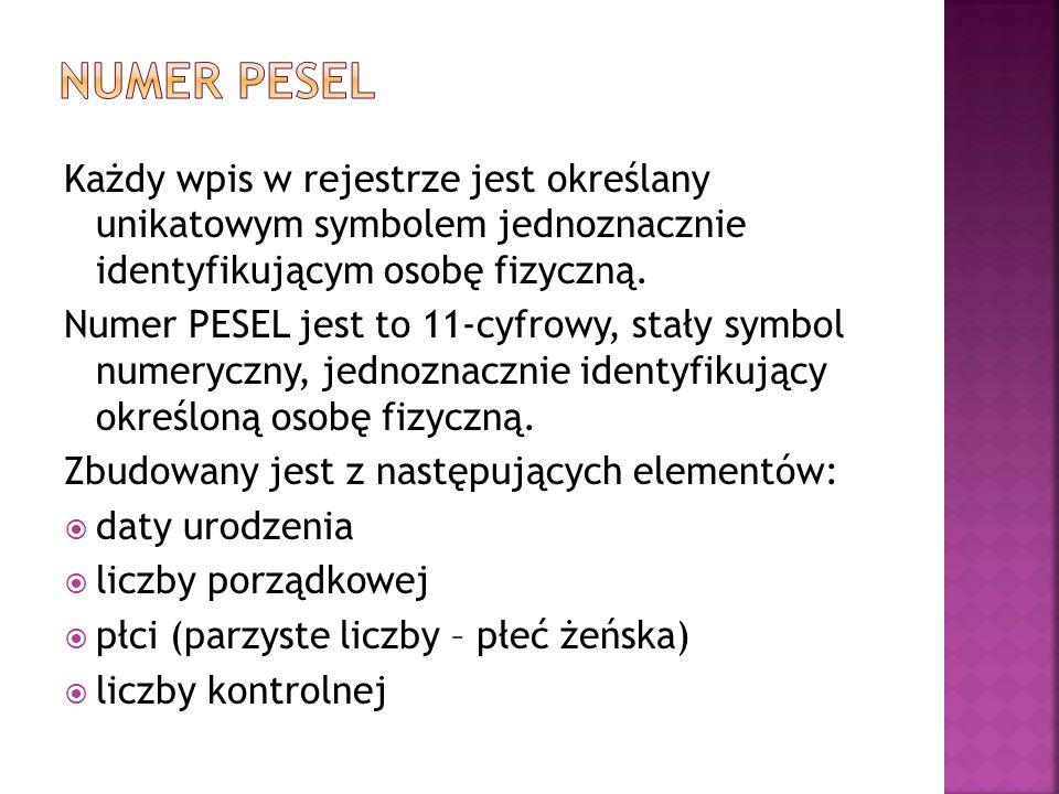 Numer PESEL Każdy wpis w rejestrze jest określany unikatowym symbolem jednoznacznie identyfikującym osobę fizyczną.