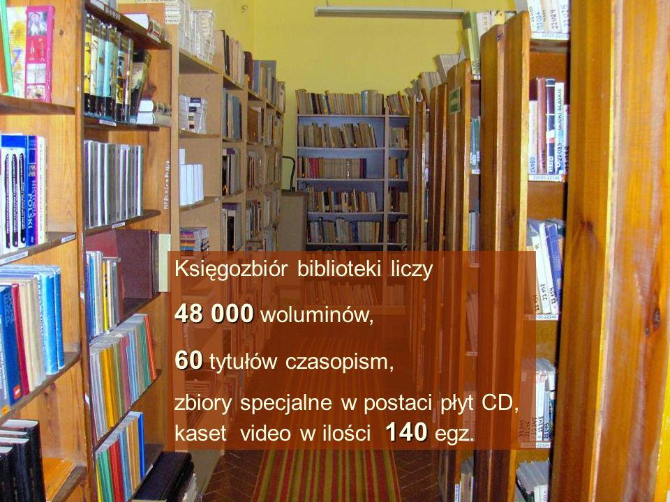 48 000 woluminów, 60 tytułów czasopism, Księgozbiór biblioteki liczy