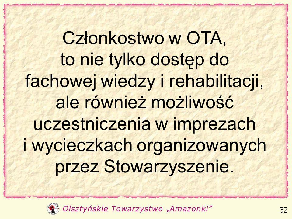 Członkostwo w OTA, to nie tylko dostęp do fachowej wiedzy i rehabilitacji, ale również możliwość uczestniczenia w imprezach i wycieczkach organizowanych przez Stowarzyszenie.