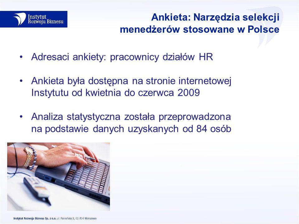 Ankieta: Narzędzia selekcji menedżerów stosowane w Polsce