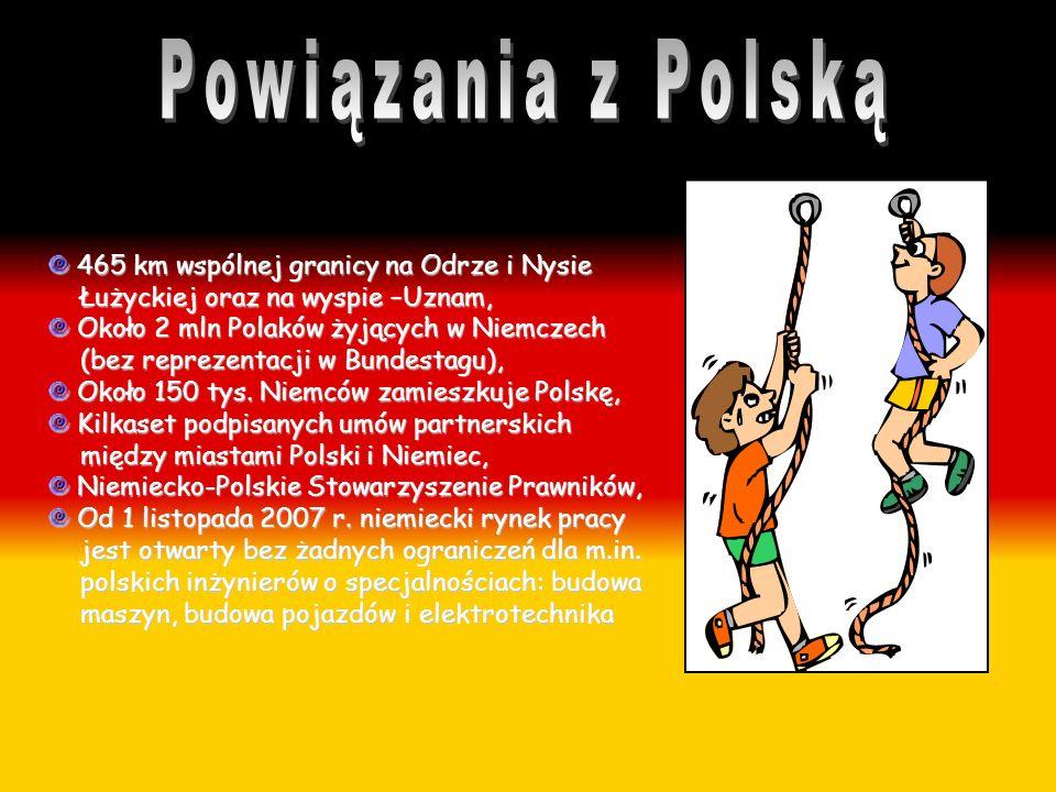 Powiązania z Polską 465 km wspólnej granicy na Odrze i Nysie Łużyckiej oraz na wyspie –Uznam,