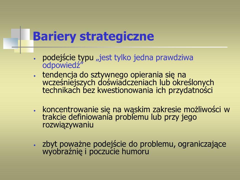"""Bariery strategicznepodejście typu """"jest tylko jedna prawdziwa odpowiedź"""