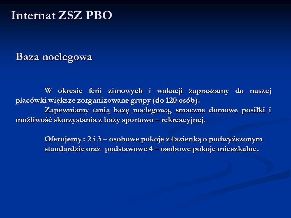 Internat ZSZ PBO Baza noclegowa