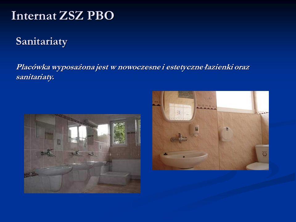 Internat ZSZ PBO Sanitariaty Placówka wyposażona jest w nowoczesne i estetyczne łazienki oraz sanitariaty.