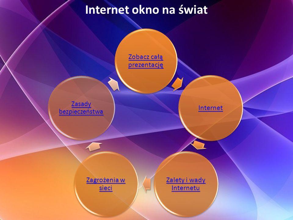 Internet okno na świat Zobacz całą prezentację Zalety i wady Internetu