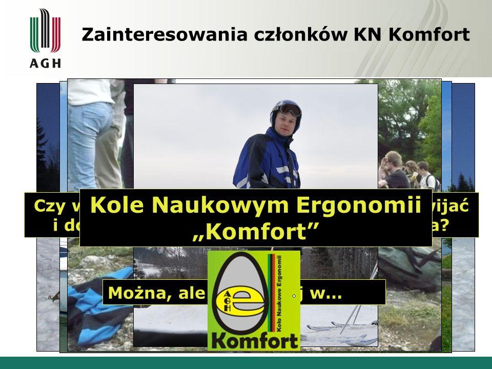 """Zainteresowania członków KN Komfort Kole Naukowym Ergonomii """"Komfort"""