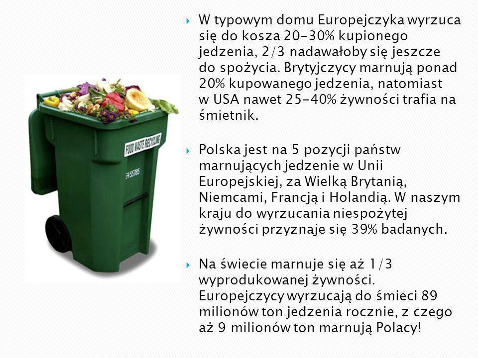 W typowym domu Europejczyka wyrzuca się do kosza 20-30% kupionego jedzenia, 2/3 nadawałoby się jeszcze do spożycia. Brytyjczycy marnują ponad 20% kupowanego jedzenia, natomiast w USA nawet 25-40% żywności trafia na śmietnik.
