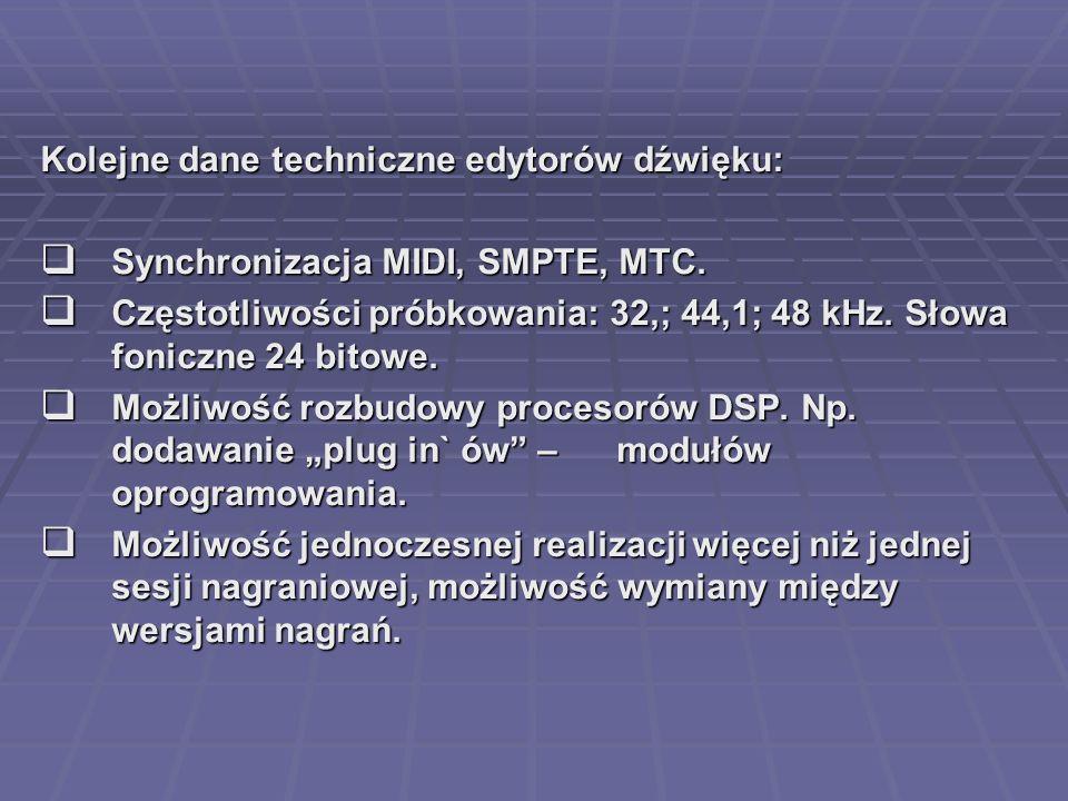 Kolejne dane techniczne edytorów dźwięku: