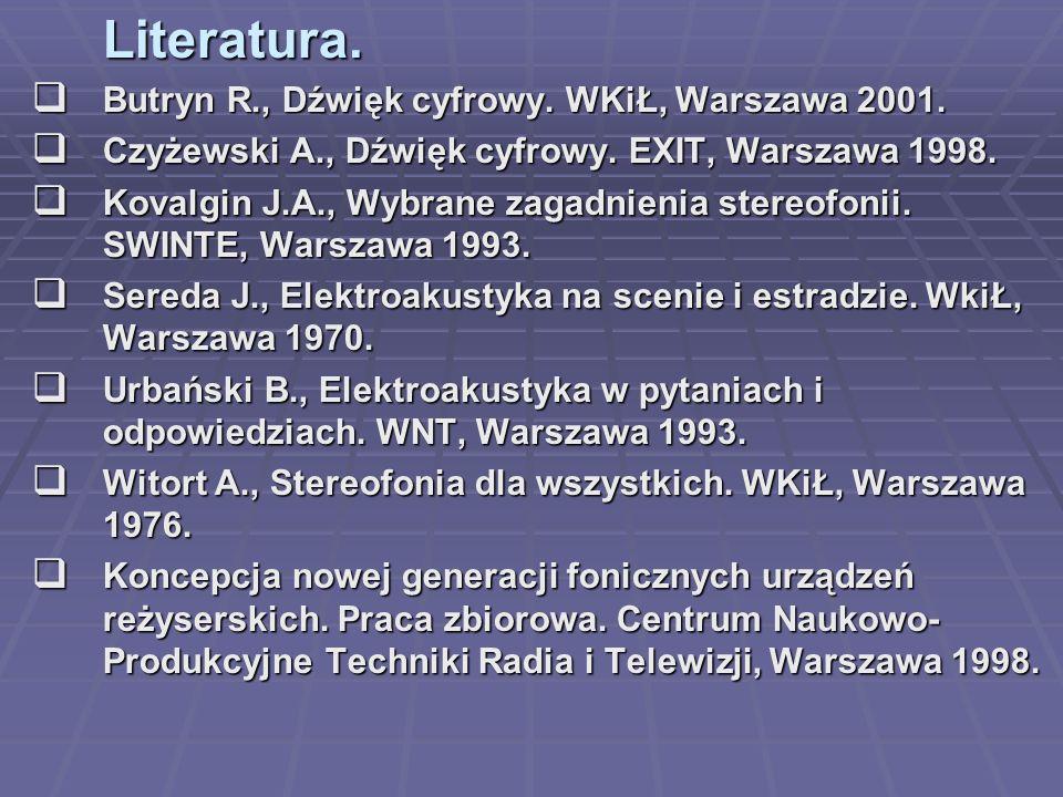 Literatura. Butryn R., Dźwięk cyfrowy. WKiŁ, Warszawa 2001.