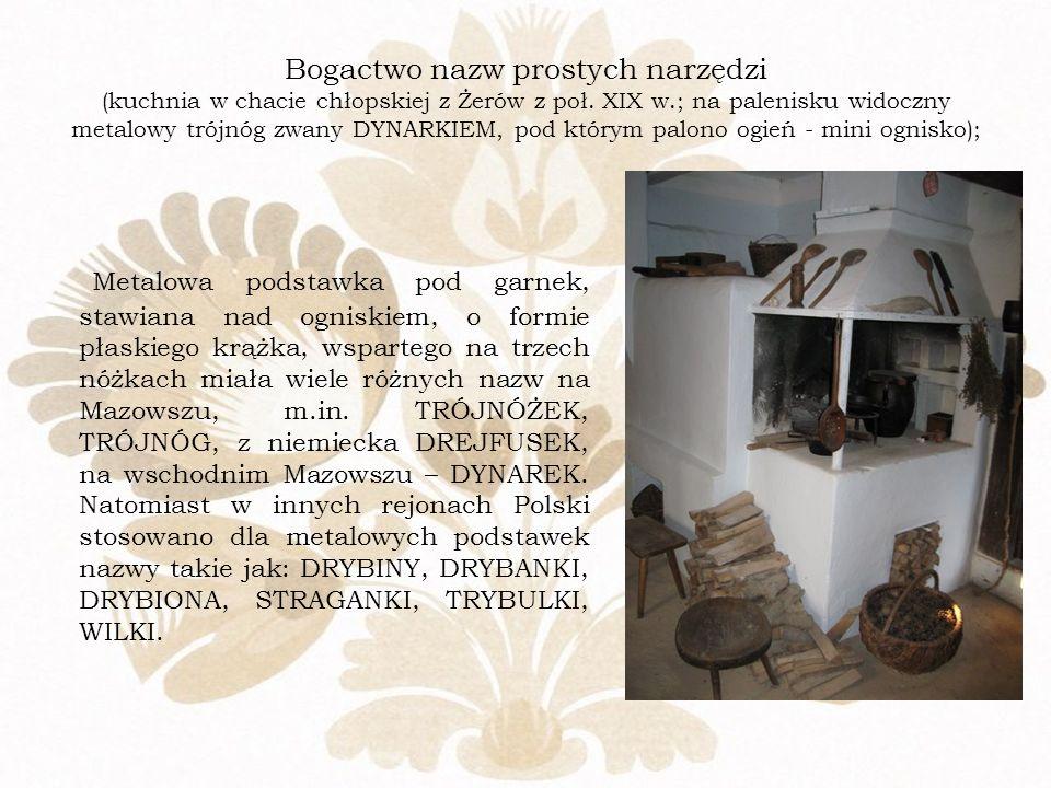 Bogactwo nazw prostych narzędzi (kuchnia w chacie chłopskiej z Żerów z poł. XIX w.; na palenisku widoczny metalowy trójnóg zwany DYNARKIEM, pod którym palono ogień - mini ognisko);