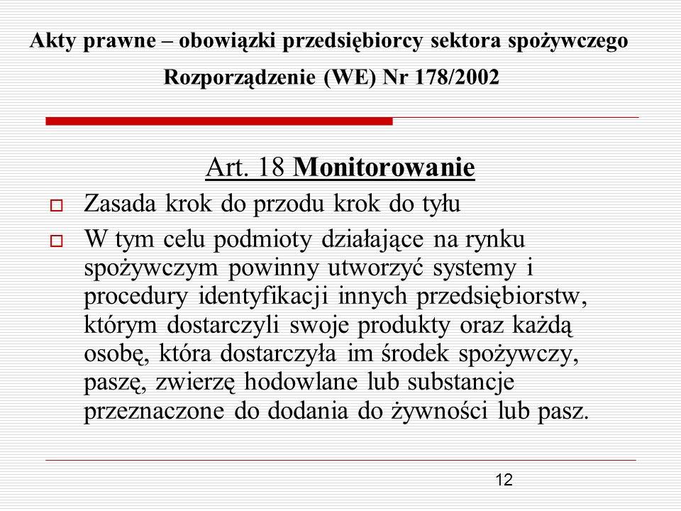 Art. 18 Monitorowanie Zasada krok do przodu krok do tyłu