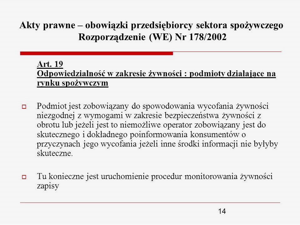 Akty prawne – obowiązki przedsiębiorcy sektora spożywczego Rozporządzenie (WE) Nr 178/2002