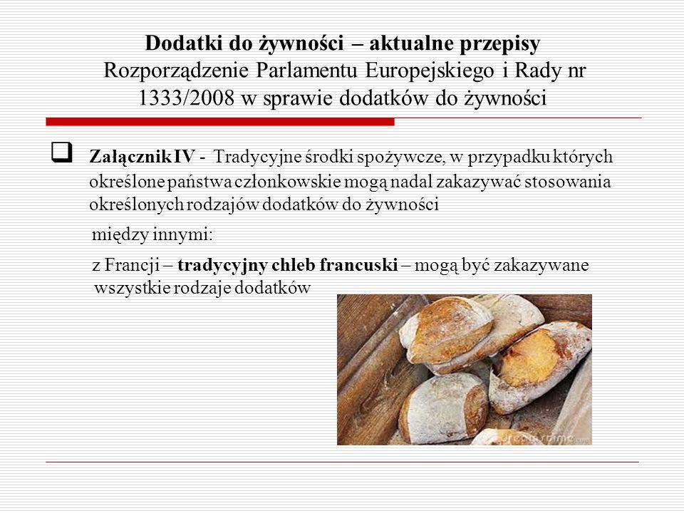 Dodatki do żywności – aktualne przepisy Rozporządzenie Parlamentu Europejskiego i Rady nr 1333/2008 w sprawie dodatków do żywności