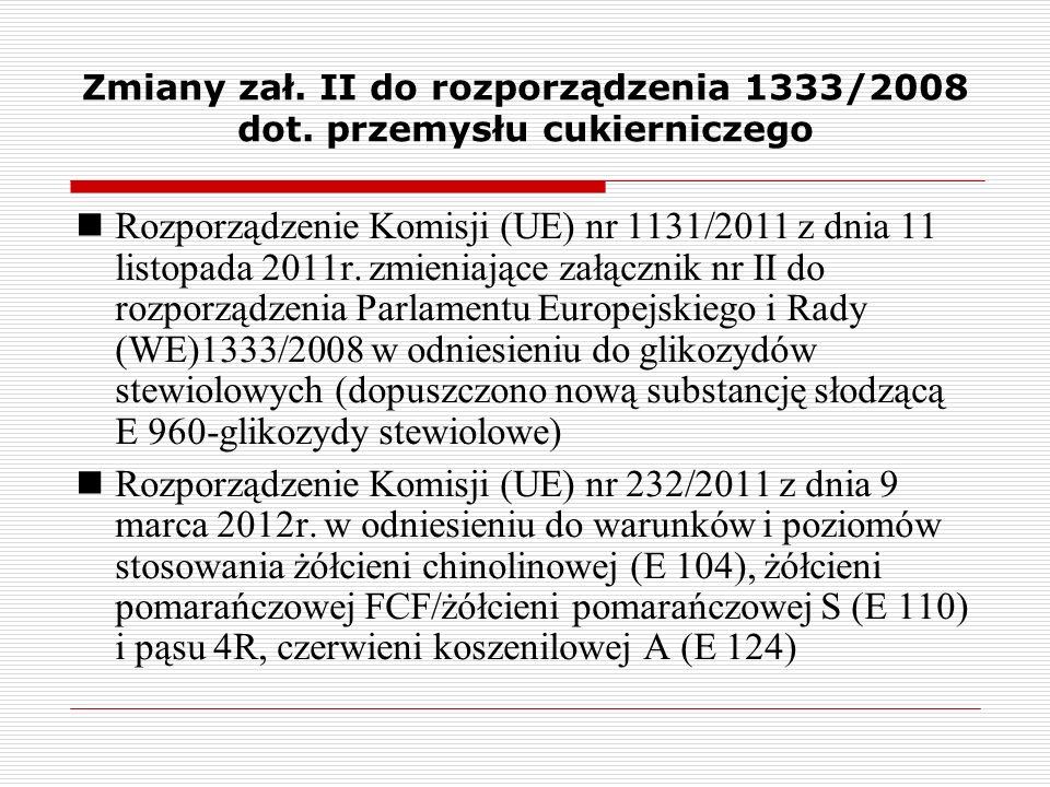 Zmiany zał. II do rozporządzenia 1333/2008 dot. przemysłu cukierniczego