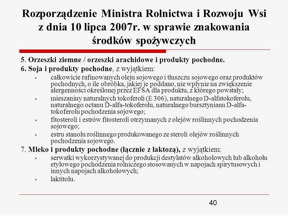 Rozporządzenie Ministra Rolnictwa i Rozwoju Wsi z dnia 10 lipca 2007r