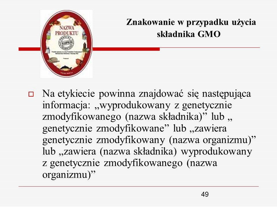 Znakowanie w przypadku użycia składnika GMO