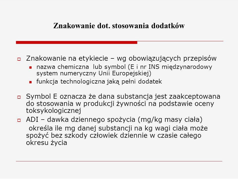 Znakowanie dot. stosowania dodatków