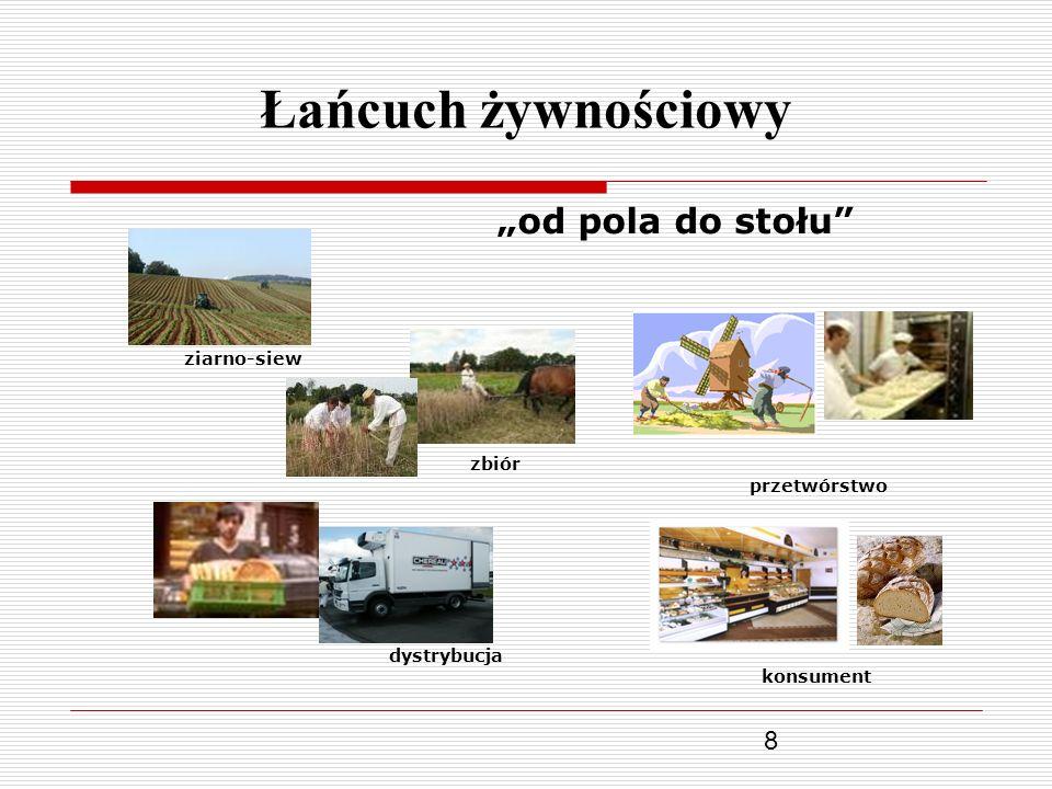 """Łańcuch żywnościowy """"od pola do stołu ziarno-siew zbiór przetwórstwo"""