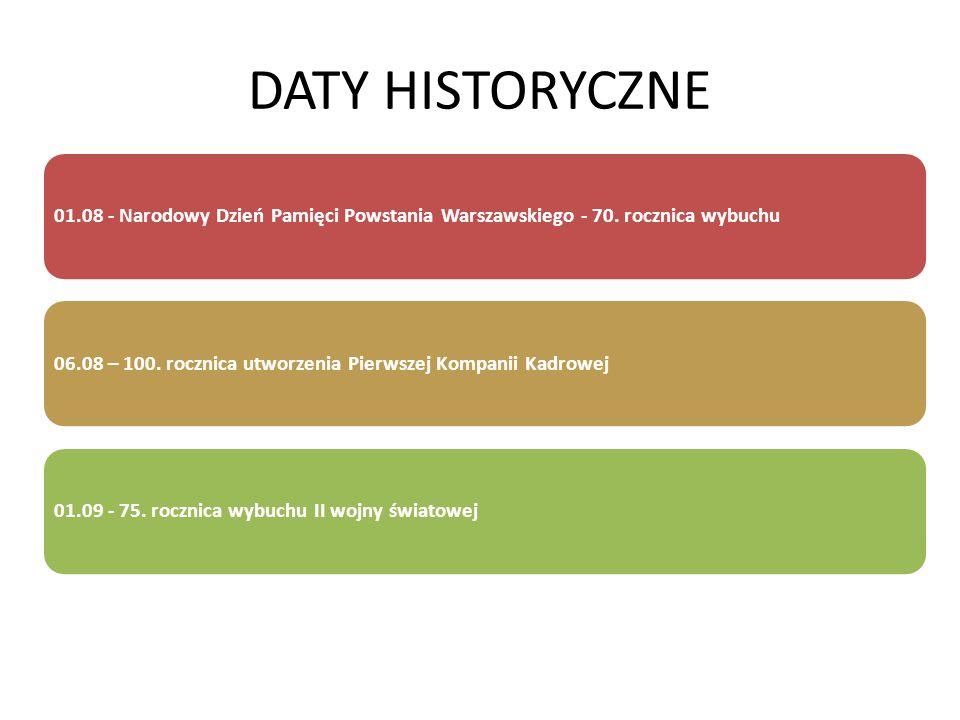 DATY HISTORYCZNE 01.08 - Narodowy Dzień Pamięci Powstania Warszawskiego - 70. rocznica wybuchu.