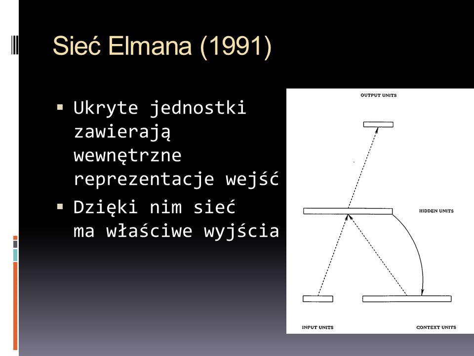 Sieć Elmana (1991)Ukryte jednostki zawierają wewnętrzne reprezentacje wejść.