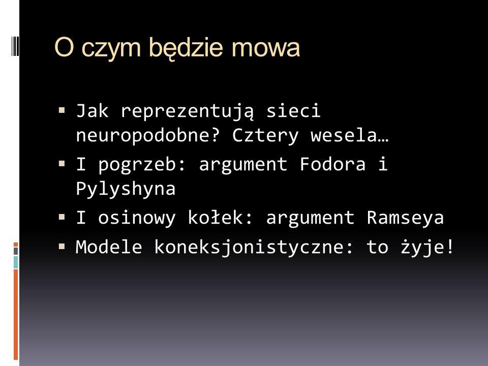 O czym będzie mowa Jak reprezentują sieci neuropodobne Cztery wesela…