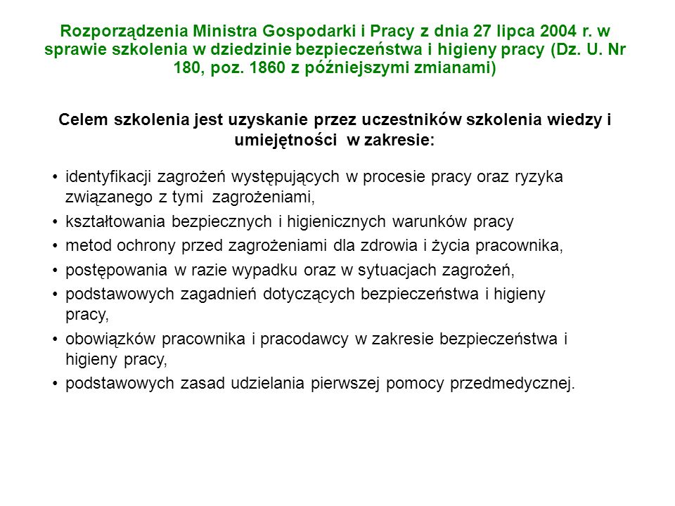 Rozporządzenia Ministra Gospodarki i Pracy z dnia 27 lipca 2004 r
