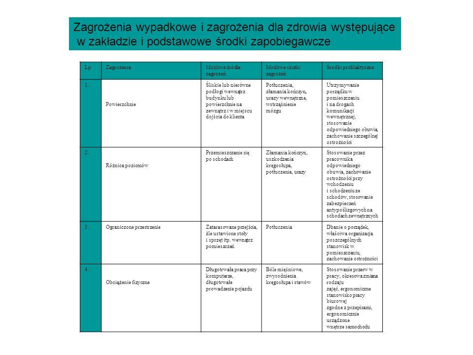 Zagrożenia wypadkowe i zagrożenia dla zdrowia występujące