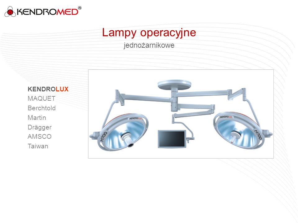 Lampy operacyjne jednożarnikowe KENDROLUX MAQUET Berchtold Martin