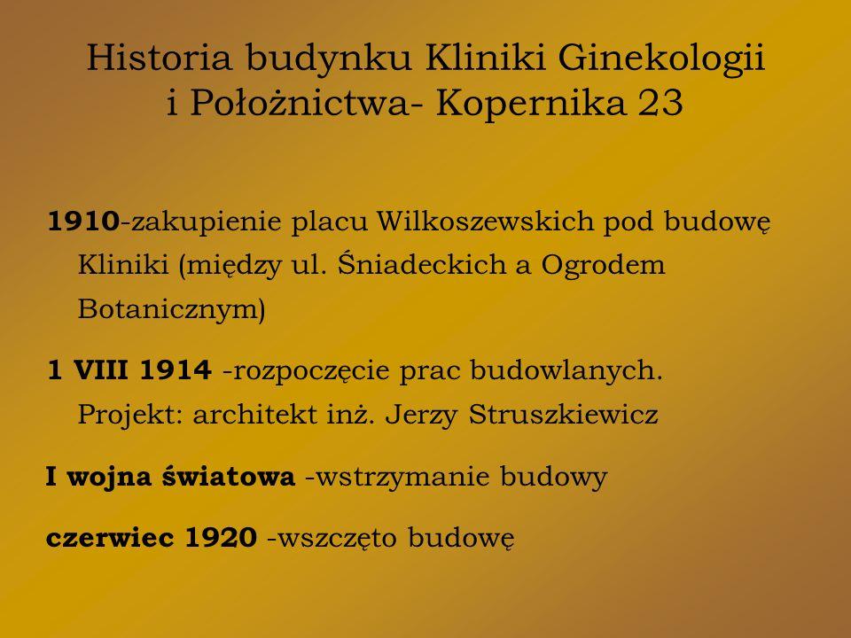 Historia budynku Kliniki Ginekologii i Położnictwa- Kopernika 23