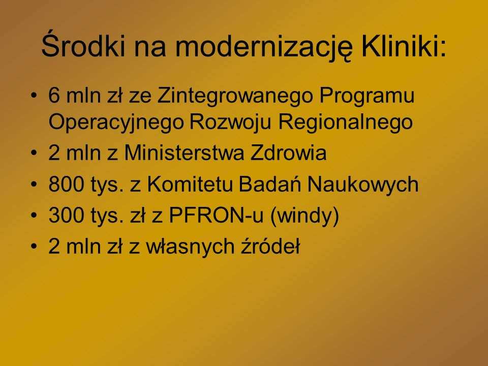 Środki na modernizację Kliniki: