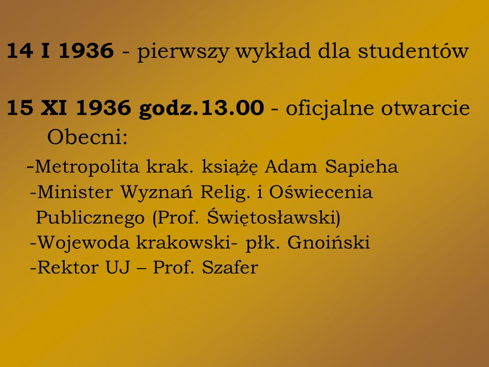 14 I 1936 - pierwszy wykład dla studentów