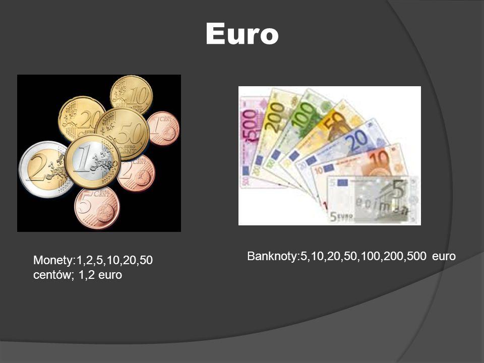 Euro Banknoty:5,10,20,50,100,200,500 euro Monety:1,2,5,10,20,50 centów; 1,2 euro