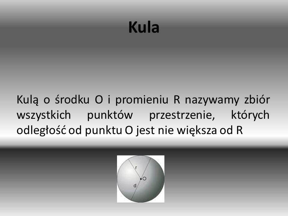 Kula Kulą o środku O i promieniu R nazywamy zbiór wszystkich punktów przestrzenie, których odległość od punktu O jest nie większa od R.
