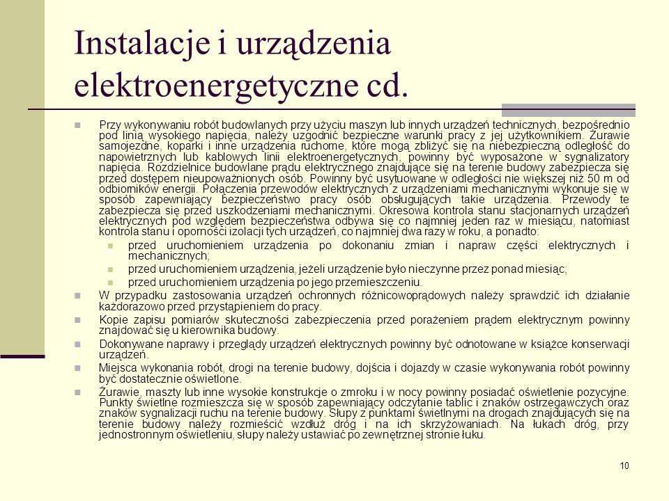 Instalacje i urządzenia elektroenergetyczne cd.