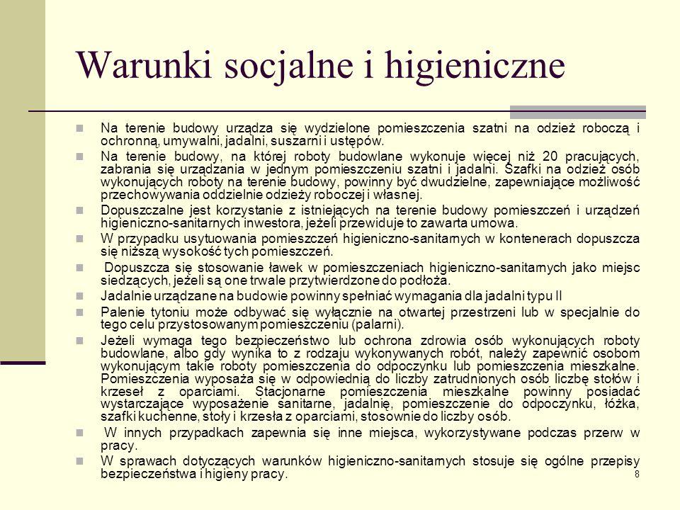 Warunki socjalne i higieniczne