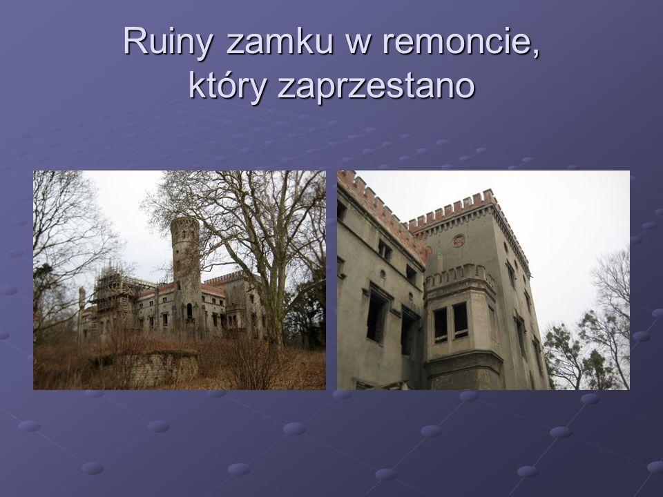 Ruiny zamku w remoncie, który zaprzestano