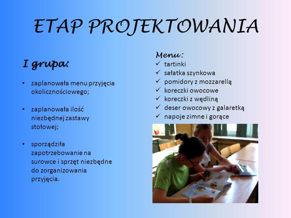 ETAP PROJEKTOWANIA I grupa: Menu : tartinki sałatka szynkowa