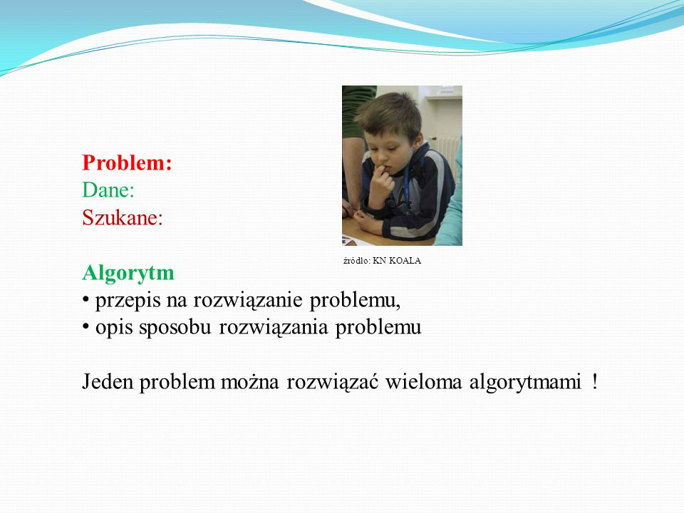 przepis na rozwiązanie problemu, opis sposobu rozwiązania problemu
