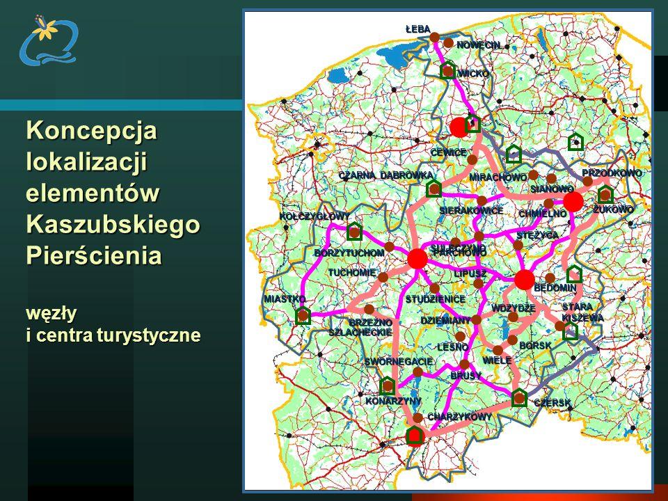 CEWICE NOWĘCIN. WICKO. ŁEBA. Koncepcja lokalizacji elementów Kaszubskiego Pierścienia węzły i centra turystyczne.