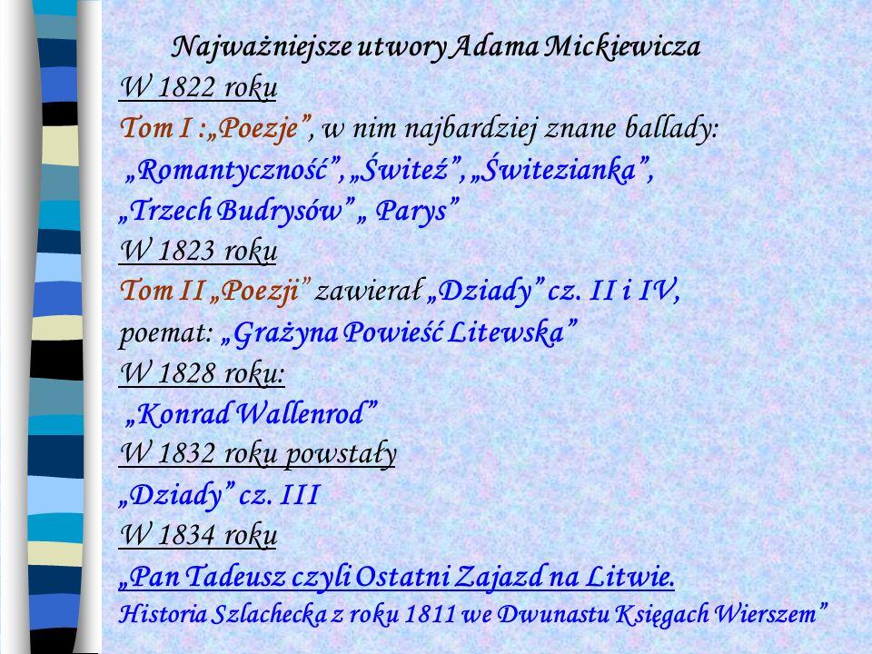 Najważniejsze utwory Adama Mickiewicza W 1822 roku