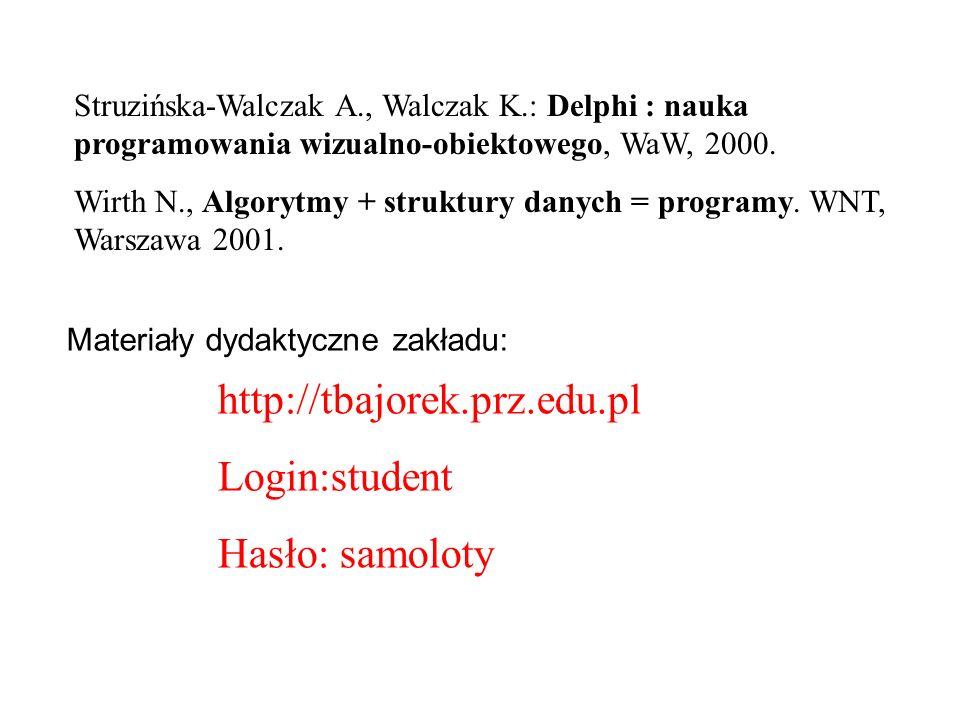 http://tbajorek.prz.edu.pl Login:student Hasło: samoloty