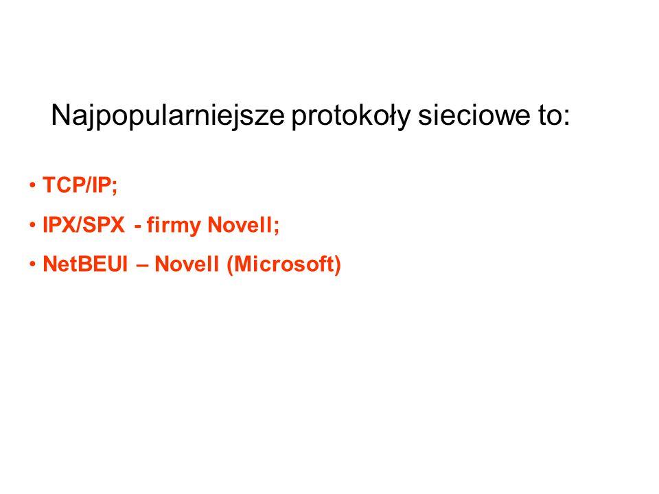 Najpopularniejsze protokoły sieciowe to: