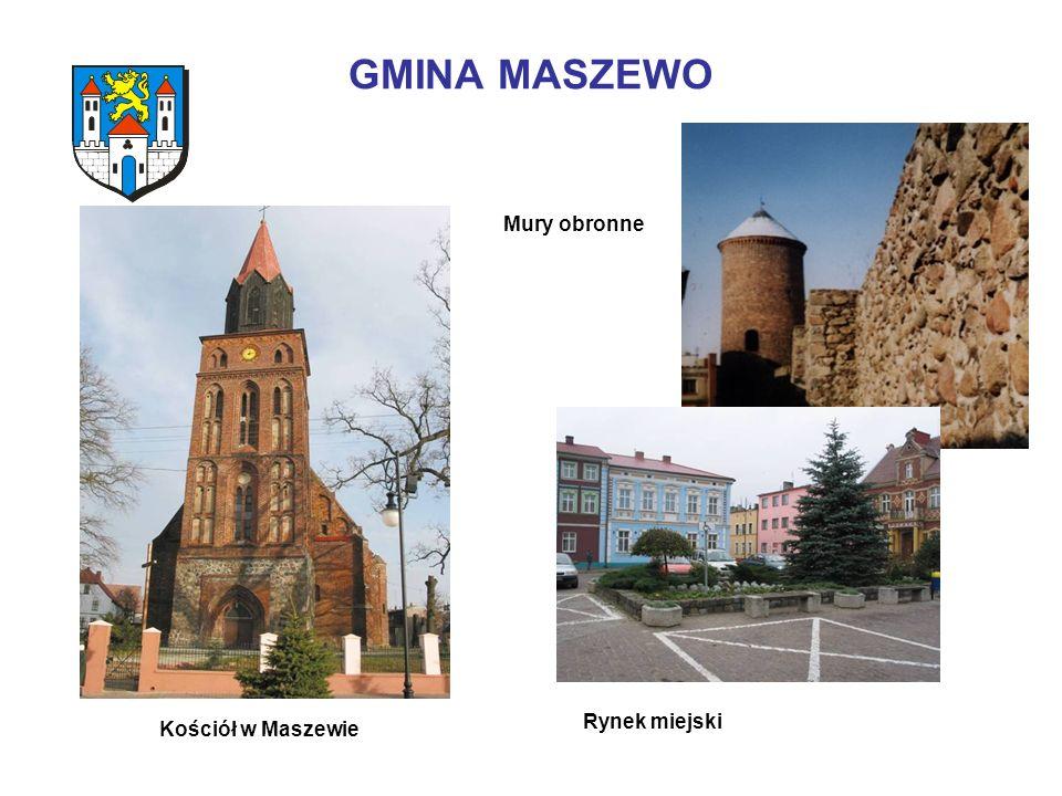 GMINA MASZEWO Mury obronne Rynek miejski Kościół w Maszewie