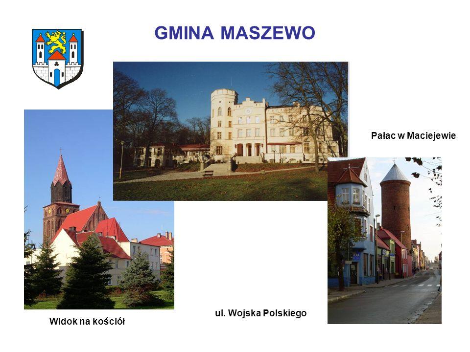 GMINA MASZEWO Pałac w Maciejewie ul. Wojska Polskiego Widok na kościół